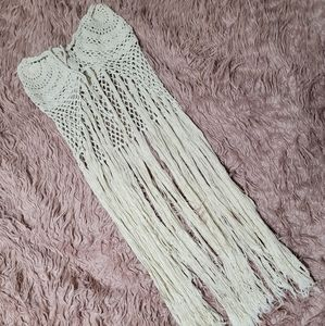 Bali High-Low Crochet Stretchy Swim Cover-Up Skirt